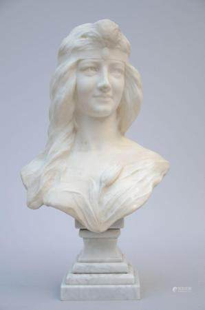A white marble bust 'lady with a flower' (h 60 cm) (*)