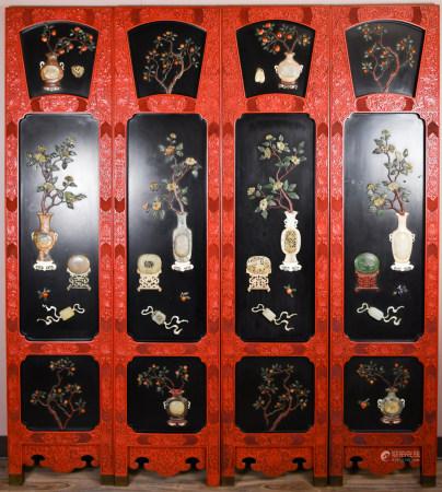 Chinese Jade Inlaid Cinnabar Screen, 19-20th C.