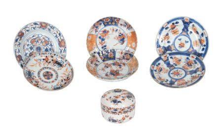 Chine, époque Kangxi (1662-1722)Lot comprenant:- un pot couvert en porcelaine à décor ImariH: