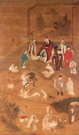 Chine, XIXe siècleGouache et aquarelle sur papier représentant le jugement et les enfers.133 x