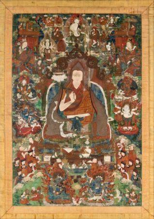 Tibet, XIXe siècleTangka représentant Tsongkhapa assis, une fl de lotus à la main, entouré d