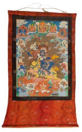 Tibet, début XXe siècleTangka représentant Mahakala sur son cheval entourée de diverses autres