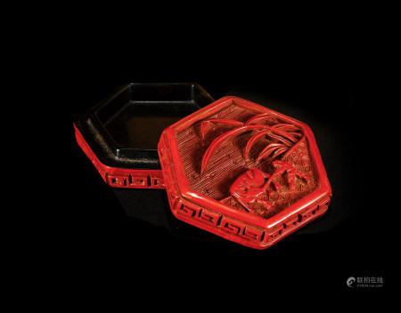 明 堆朱牧牛圖紋六角盒