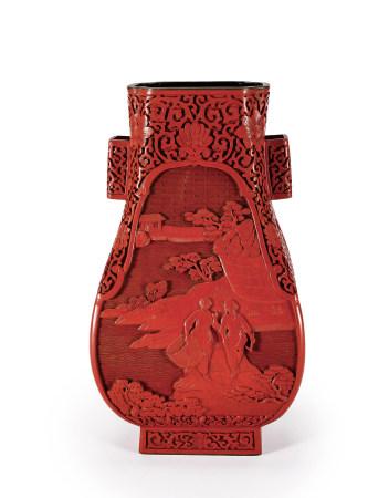 文革時期堆朱上山下鄉紋貫耳瓶