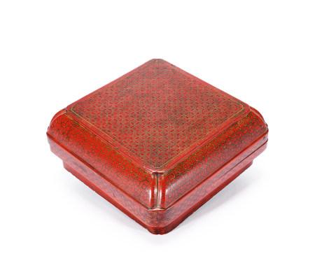 清乾隆 幾何紋漆盒