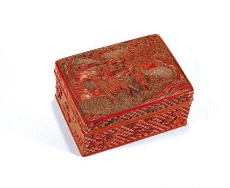 清早期 剔紅人物花卉紋長方盒