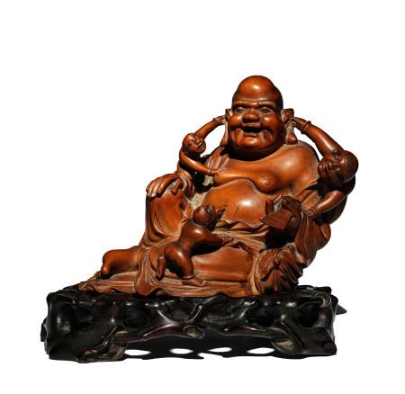 清 黃楊木雕彌勒佛眾生樂