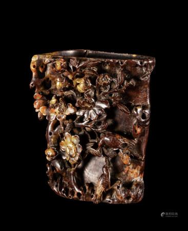 清 壽山石雕喜上梅梢詩文筆筒