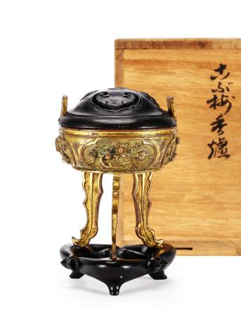 清 乾隆銅鎏金花鳥紋香爐