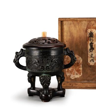 明 饕餮紋三獸足龍耳銅香爐