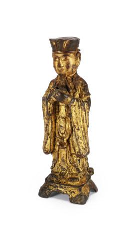 明 銅鎏金道教人物像