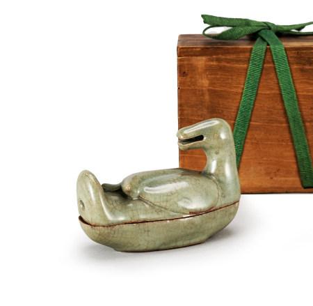 明 龍泉窯鴨形香盒