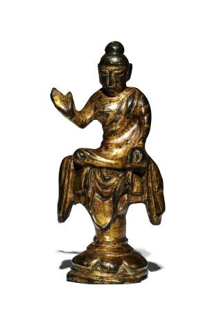 唐 銅鎏金說法佛