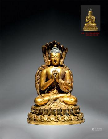 18世紀 銅鎏金龍尊王佛