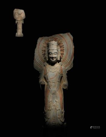 北齊 石雕彩繪菩薩像