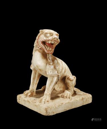 唐 漢白玉彩繪獅