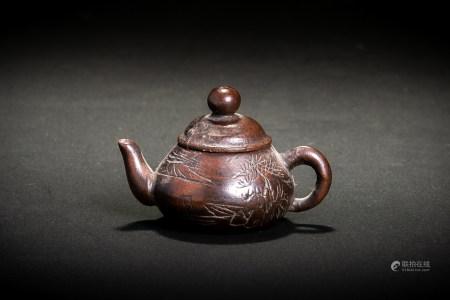 中国紫陽款 紫砂 彫山水書紋 豆茶壷 小急須