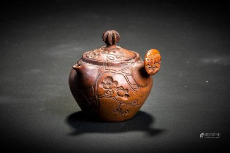 清 竹雕花紋 急須 煎茶道具
