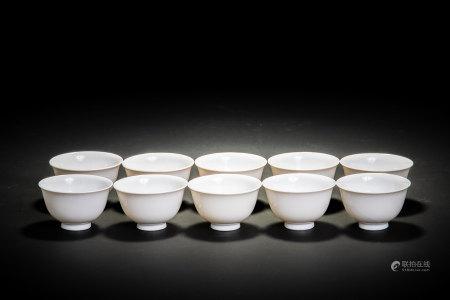 清 白磁 煎茶碗 10客