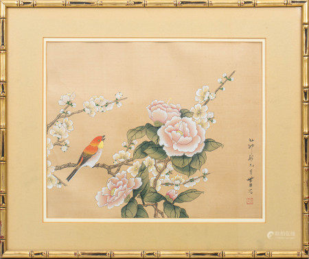 PEONY AND BIRD PAINTING WITH MARK