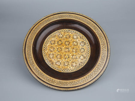 18TH CENTURY MOTHER OF PEARL INLAID WOODEN PLATE