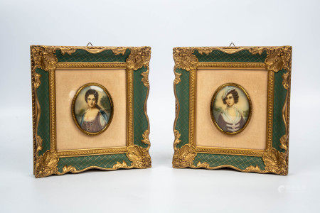 19TH CENTURY FRAMED PORCELAIN PAINTING  PORTRAITS
