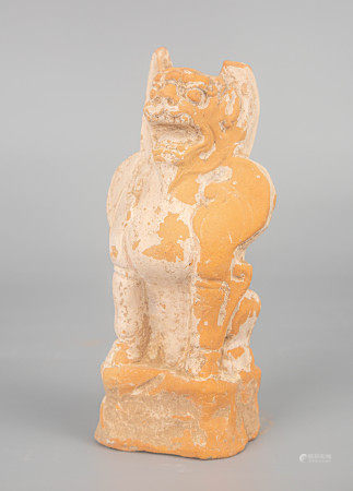 """SONG DYNASTY (UNEARTHED) CLAY """"ZHEN MU"""" BEAST FIGURE STATUE"""