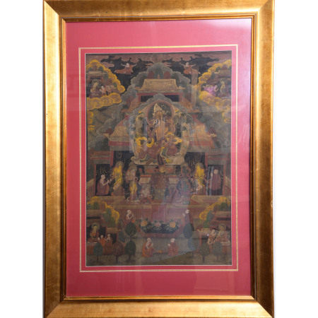 A CHINESE THANGKA AMITAYUS BUDDHA PAINTING, WITH A FRAME
