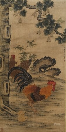 A SCROLL PAINTING OF ROOSTERS
