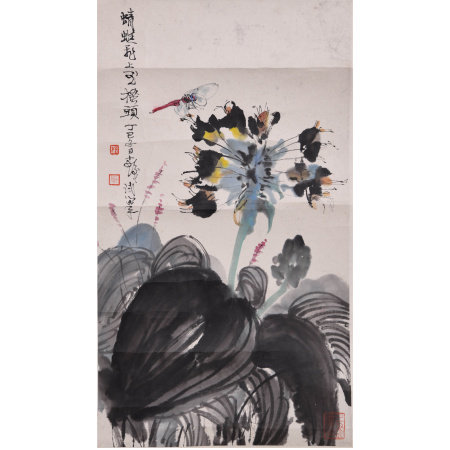 A CHINESE FLOWER& DRAGONFLY PAINTING, TNAG YUN MARK
