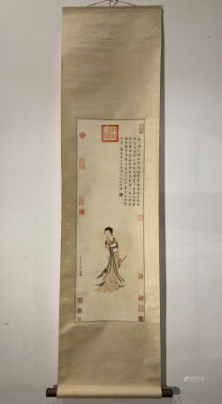 A CHINESE BEAUTY PAINTING, QIU YING MARK