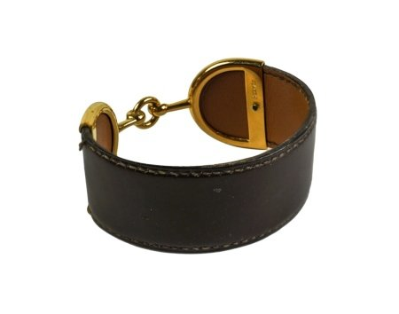 HERMES THICK LEATHER AND GOLD CUFF BRACELET
