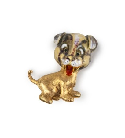 18K GOLD AND ENAMELED PUPPY BROOCH, ITALY