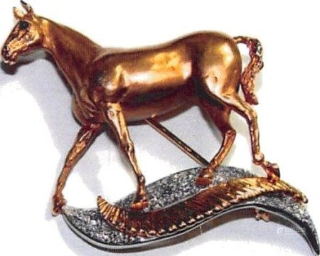 14k GOLD & PLATINUM DIAMOND SET HORSE BROOCH