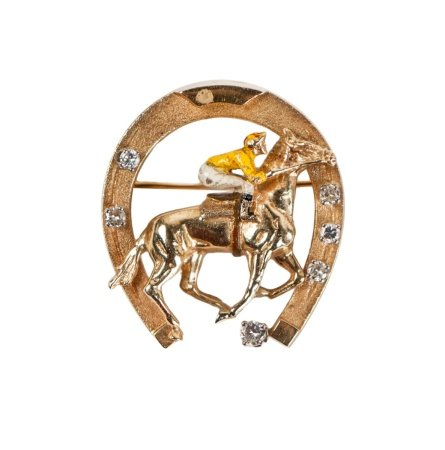 14K GOLD DIAMOND SET JOCKEY HORSESHOE PIN