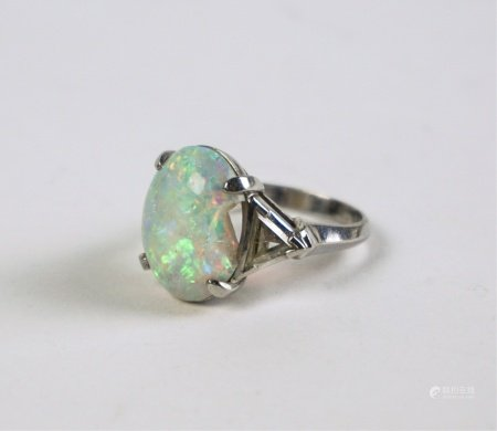 PLATINUM DIAMOND AND OPAL RING
