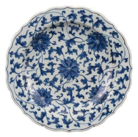 CHINESE BLUE AND WHITE LOBED PORCELAIN DISH, 18th CENTURY