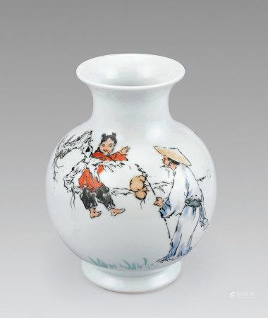 范曾 繪人物故事白瓷瓶