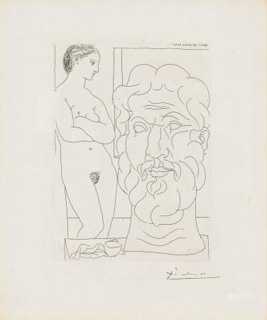 畢加索 女模特與大雕塑