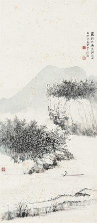 1934年作 汪吉麟、張大千 清江密林