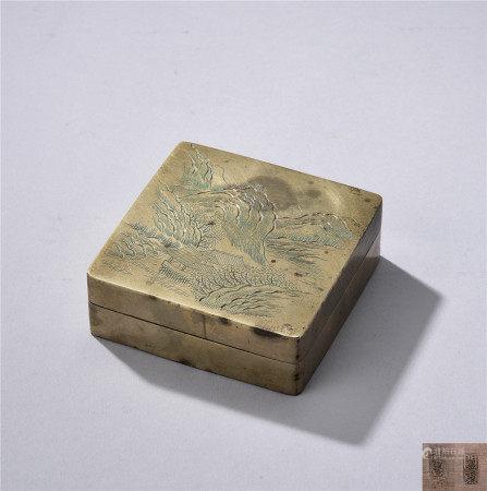 銅刻山水紋墨盒