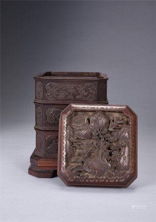 紅木雕山水樓閣三重盒