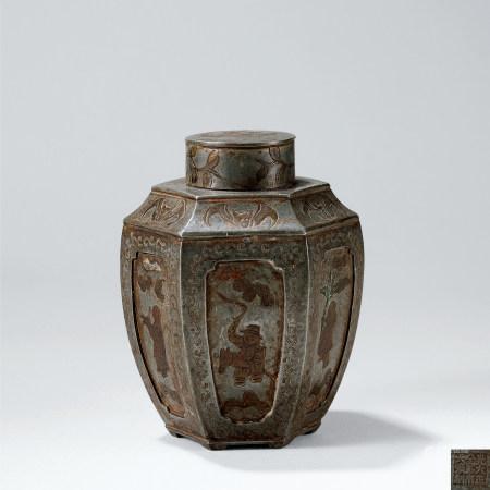 錫製六面開光人物紋茶罐