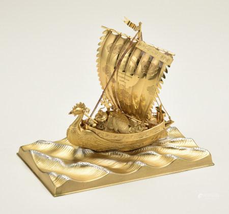 武比谷作純金船置物