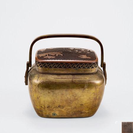 清 銅漆金火爐