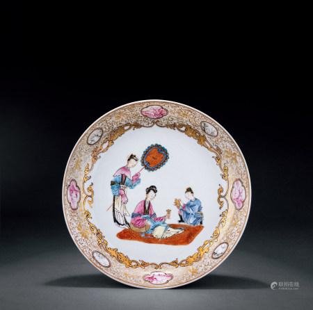 清·雍正 洋彩人物紋盤