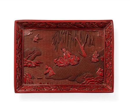 明中期 農家樂剔紅方盤