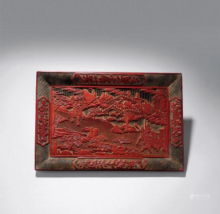 明中期 剔紅三國故事紋長方盤