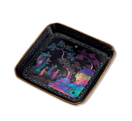 清 黑漆嵌螺鈿松下人物紋方盤