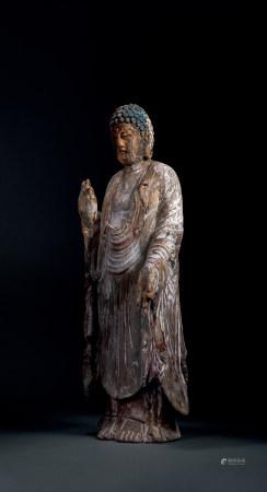 宋 木雕加彩釋迦如來立像